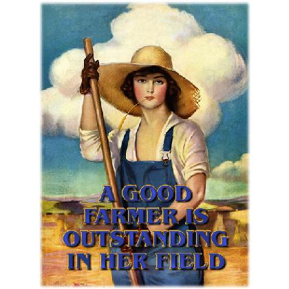 A GOOD FARMER IS OUTSTANDING IN HER FIELD T-SHIRT Image