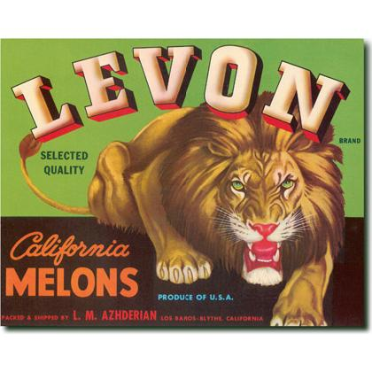 LEVON CALIFORNIA MELONS CRATE LABEL T-SHIRT Image