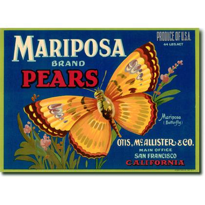 MARIPOSA BRAND PEARS CRATE LABEL T-SHIRT Image